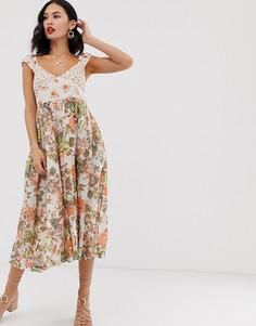 Платье миди с цветочным принтом Free People Love You-Белый