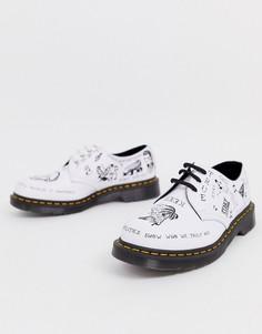 Белые ботинки с принтом и люверсами Dr Martens 1461 - 3 пары люверсов-Черный