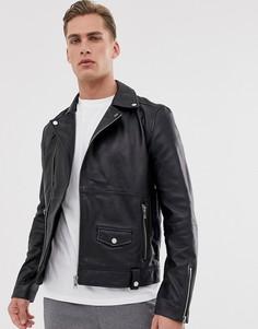 Кожаная байкерская куртка на молнии Barneys Originals-Черный