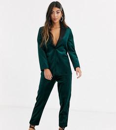 Узкие бархатные брюки под смокинг зеленого цвета ASOS DESIGN Petite-Зеленый