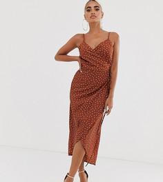 Платье макси в горошек с запахом ASOS DESIGN Petite-Мульти