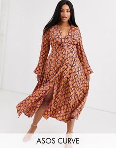 Платье макси с запахом и змеиным принтом ASOS DESIGN Curve-Мульти
