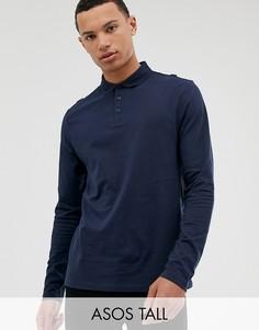 Темно-синяя трикотажная футболка-поло с длинными рукавами ASOS DESIGN Tall-Темно-синий