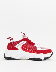 Красные/белые кроссовки на массивной подошве Calvin Klein Marvin-Красный