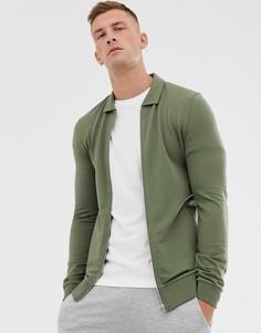 Трикотажная облегающая куртка Харрингтон цвета хаки ASOS DESIGN-Зеленый