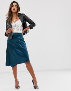 Атласная асимметричная юбка Unique21-Синий