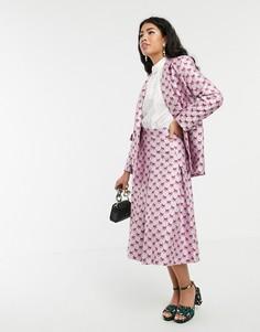 Жаккардовая плиссированная юбка миди Sister Jane-Розовый