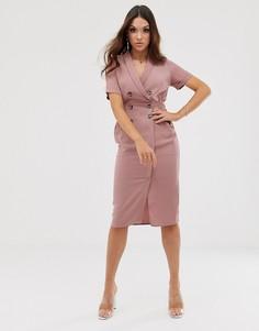 Платье-смокинг миди ASOS DESIGN-Розовый