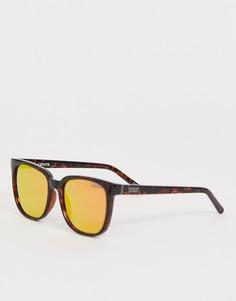 Солнцезащитные очки в квадратной оправе с красными зеркальными стеклами Levis-Коричневый