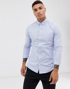 Голубая оксфордская рубашка Topman-Синий