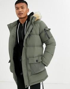 Дутая куртка цвета хаки с искусственным мехом на капюшоне SikSilk-Зеленый