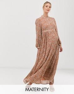 Платье макси с высоким воротом и цветочным принтом Glamorous Bloom-Розовый