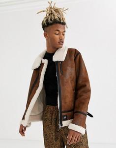 Коричневая куртка с искусственной овечьей шерстью Sixth June-Коричневый