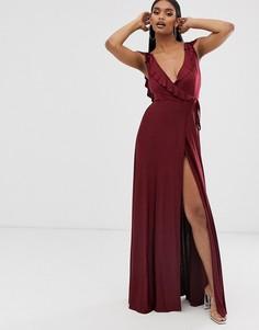 Платье макси с запахом, оборкой и поясом ASOS DESIGN-Красный