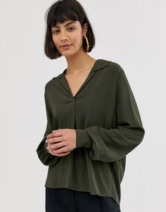 Рубашка с длинными объемными рукавами Selected Femme-Серый