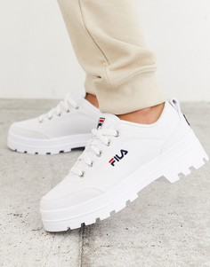 Белые парусиновые кроссовки на массивной подошве Fila Theme-Белый