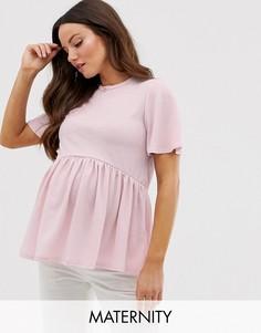 Розовая футболка с баской New Look Maternity-Розовый