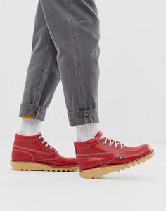 Красные кожаные высокие ботинки Kickers-Красный