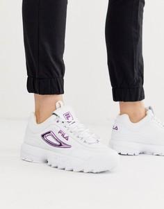 Белые кроссовки с фиолетовыми элементами с эффектом металлик Fila Disruptor II-Белый