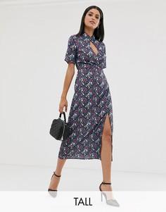 Платье миди с высоким воротом, вырезом капелькой и цветочным принтом Fashion Union Tall-Мульти