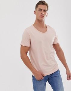 Розовая меланжевая футболка с овальным вырезом Jack & Jones Premium-Розовый