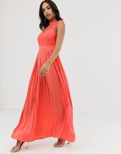 Платье макси с кружевом Little Mistress-Оранжевый