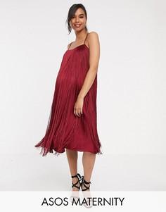 Платье миди с бахромой ASOS DESIGN Maternity-Красный
