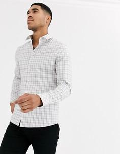 Зауженная рубашка светло-бежевого цвета в клетку ASOS DESIGN-Кремовый