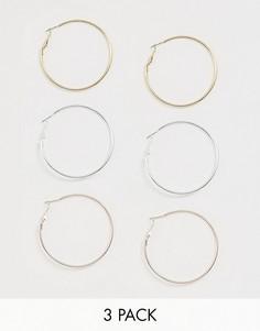 Набор из трех сережек-колец серебристого и золотистого цвета River Island-Мульти