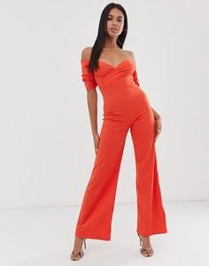 Оранжевый комбинезон с открытыми плечами и широкими штанинами Club L London