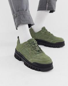 Замшевые кроссовки цвета хаки на массивной подошве CAT Exalt-Зеленый