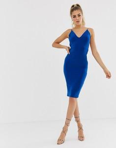 Синее платье миди с открытой спиной и сборками Club L London-Синий