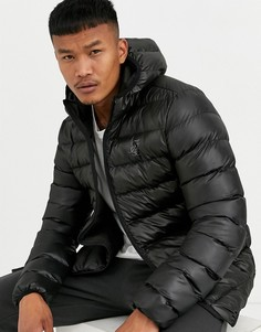 Черная дутая куртка с капюшоном SikSilk-Черный