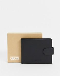 Кожаный бумажник с контрастной темно-синей подкладкой ASOS DESIGN-Черный
