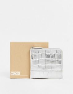 Серебристый кожаный бумажник на молнии с эффектом металлик ASOS DESIGN-Серебряный