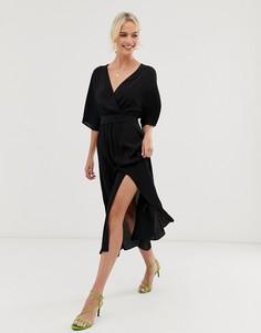 Черное платье миди с запахом, V-образным вырезом и разрезом спереди & Other Stories-Черный