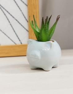 Небольшой горшок для цветов с дизайном в виде поросенка и с искусственным растением Candlelight-Синий