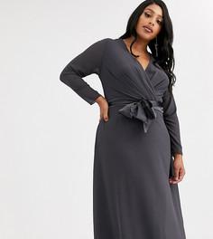 Серое платье миди с длинными рукавами и бантом на спине TFNC Plus Bridesmaid-Серый