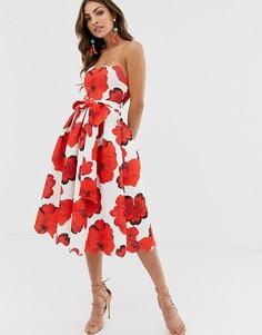 Приталенное платье миди с цветочным принтом ASOS DESIGN-Красный