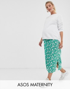 Зеленая юбка с запахом и цветочным принтом ASOS DESIGN Maternity-Мульти