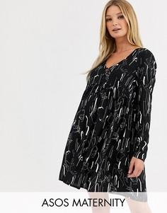 Свободное платье мини с пуговицами и абстрактным принтом ASOS DESIGN Maternity-Мульти