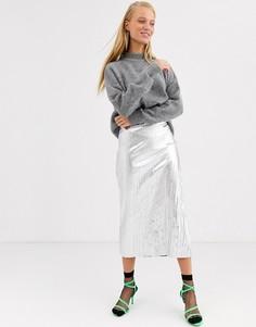 Серебристая фактурная юбка ASOS WHITE-Серебряный