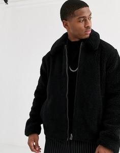 Черная короткая куртка из искусственного меха Topman-Черный