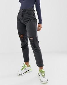 Черные джинсы в винтажном стиле с рваной отделкой Noisy May-Синий