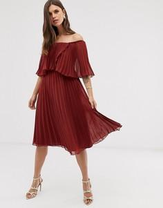 Плиссированное двухслойное платье миди ASOS DESIGN-Красный