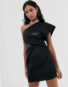 Платье мини на одно плечо с молнией ASOS DESIGN-Черный