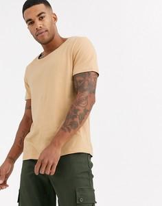 Бежевая футболка с овальным вырезом ASOS DESIGN-Бежевый