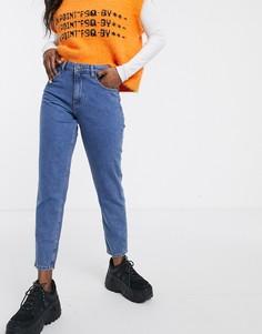 Укороченные джинсы в винтажном стиле с контрастной строчкой Noisy May-Синий