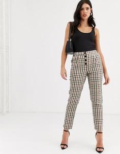 Зауженные брюки в клетку на пуговицах Vero Moda-Мульти
