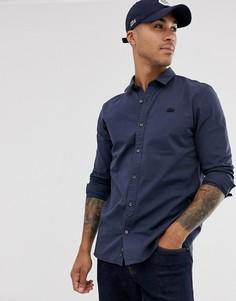 Однотонная рубашка с длинными рукавами Lacoste-Темно-синий